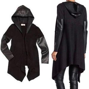 BLANKNYC hooded vegan leather wool open cardigan